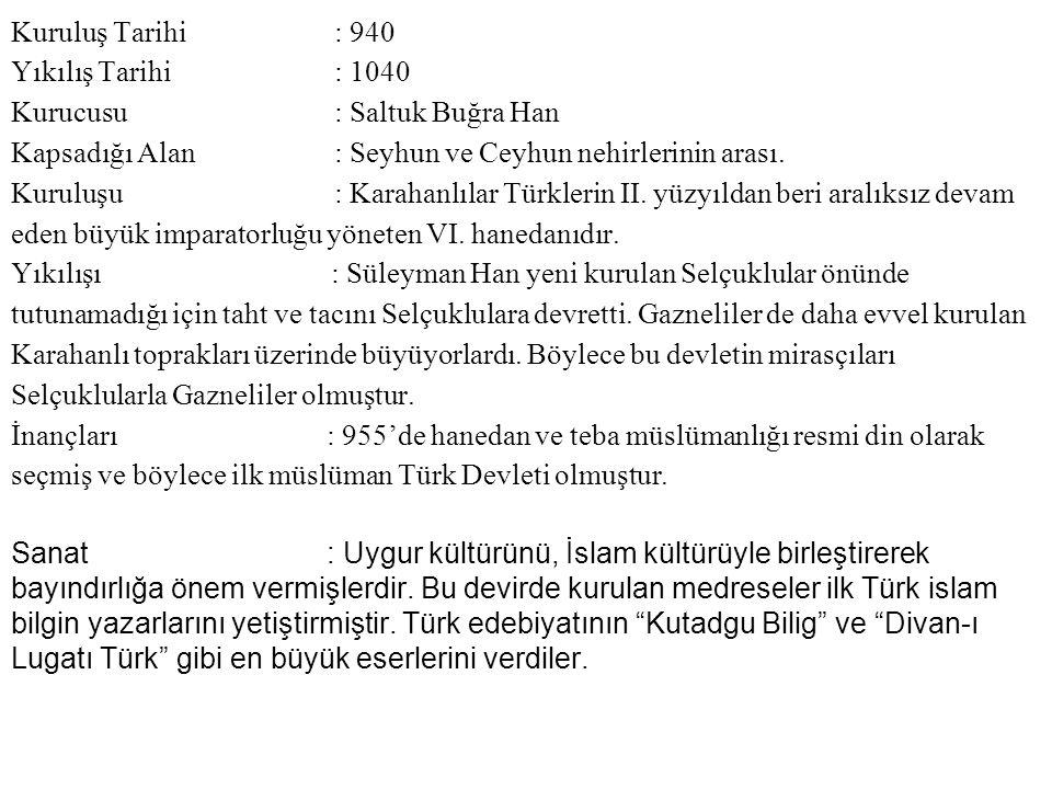 Kuruluş Tarihi : 940 Yıkılış Tarihi : 1040. Kurucusu : Saltuk Buğra Han.