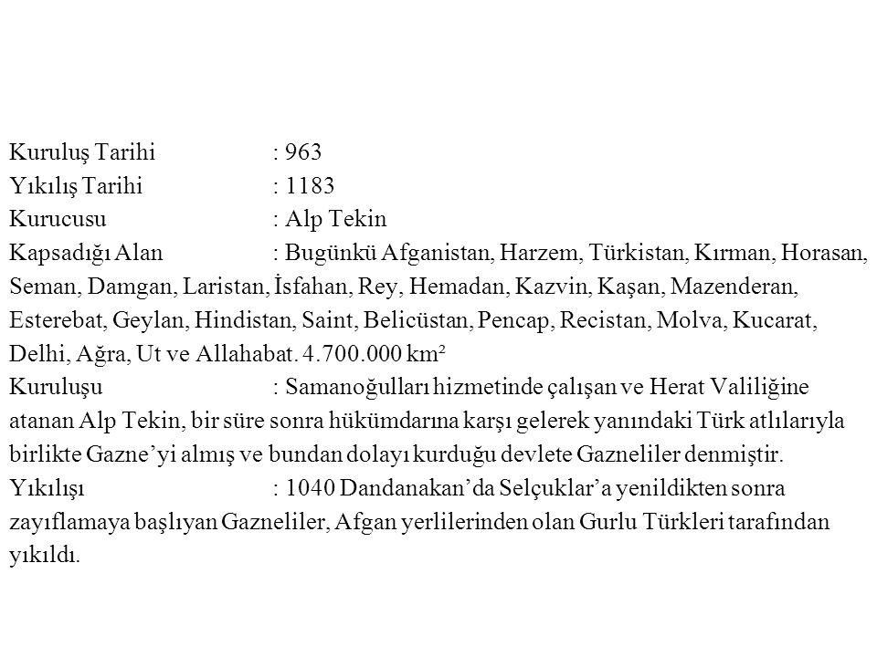 Kuruluş Tarihi : 963 Yıkılış Tarihi : 1183. Kurucusu : Alp Tekin.