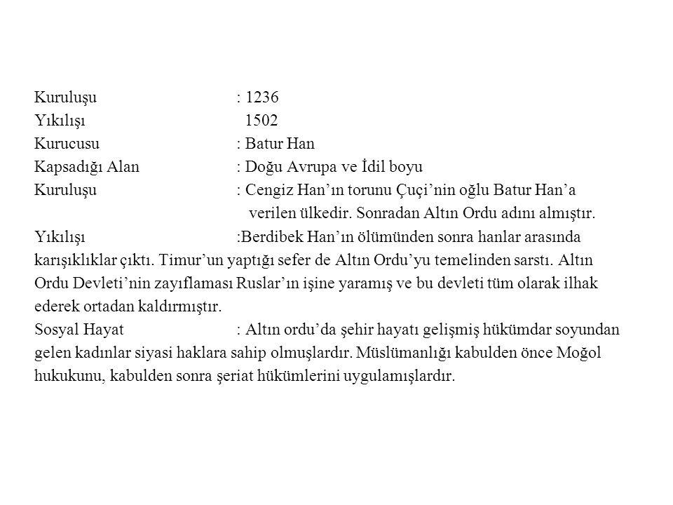 Kuruluşu : 1236 Yıkılışı 1502. Kurucusu : Batur Han.
