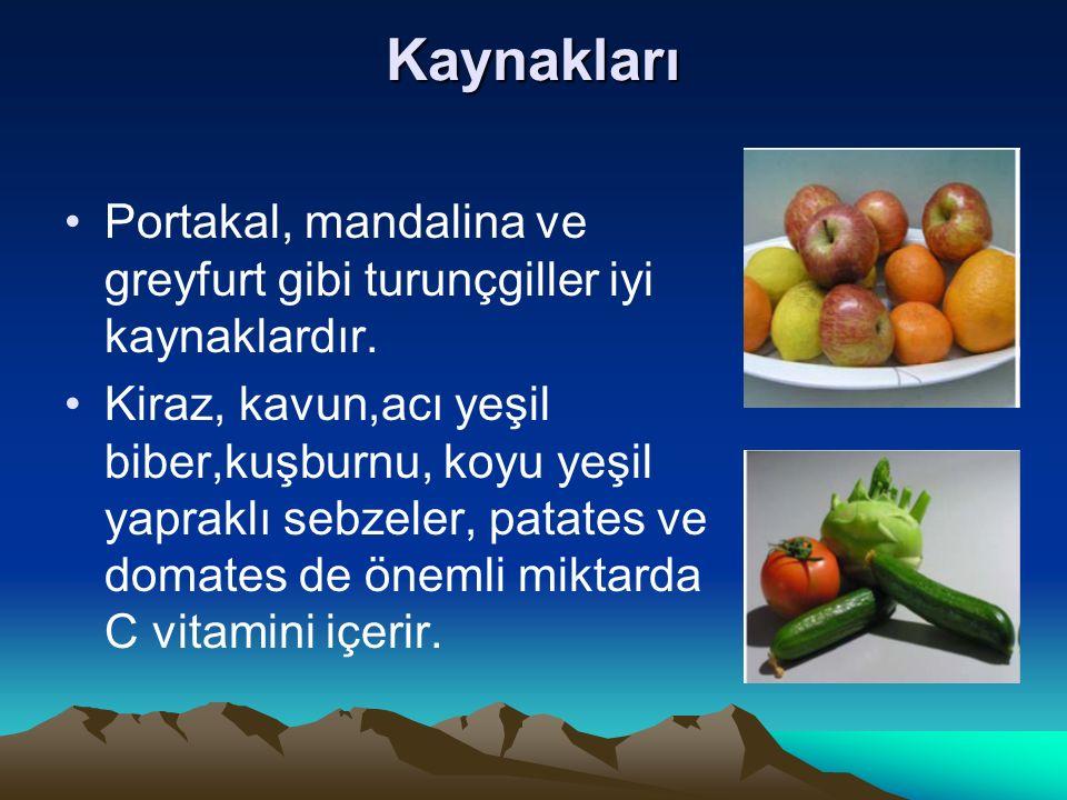 Kaynakları Portakal, mandalina ve greyfurt gibi turunçgiller iyi kaynaklardır.