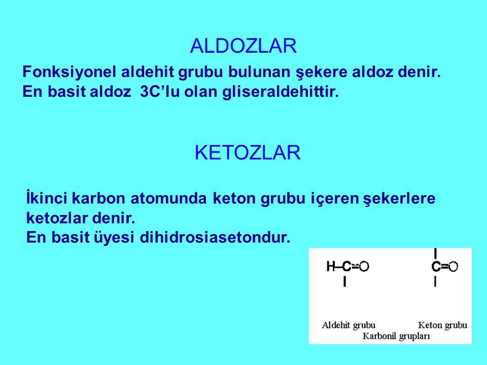 ALDOZLAR Fonksiyonel aldehit grubu bulunan şekere aldoz denir. En basit aldoz 3C'lu olan gliseraldehittir.