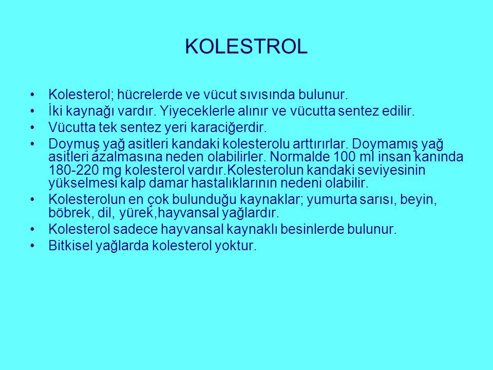 KOLESTROL Kolesterol; hücrelerde ve vücut sıvısında bulunur.