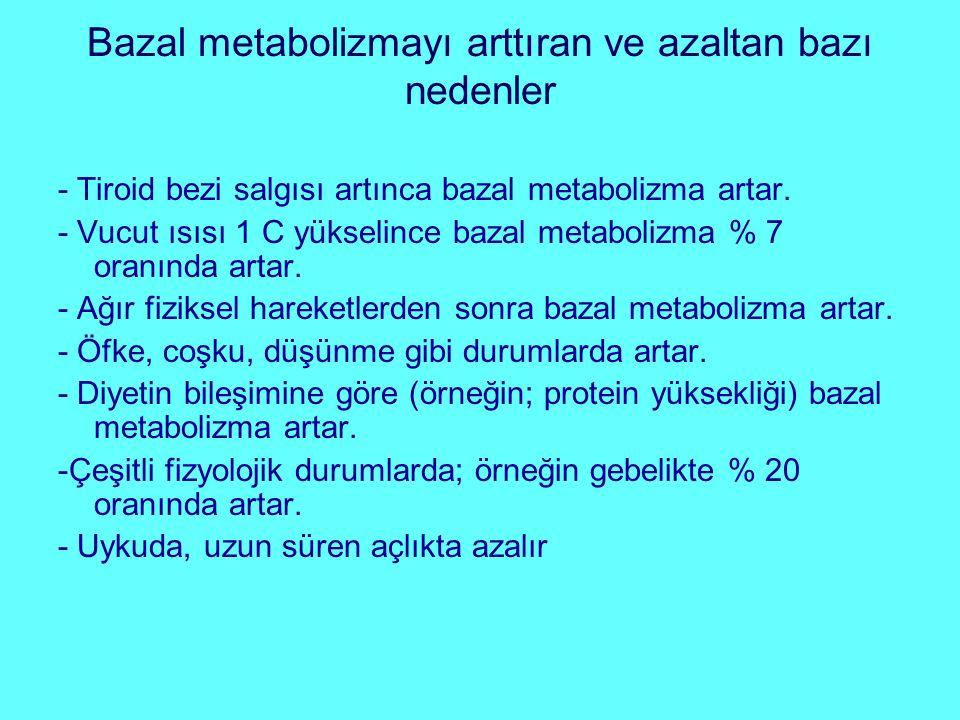 Bazal metabolizmayı arttıran ve azaltan bazı nedenler
