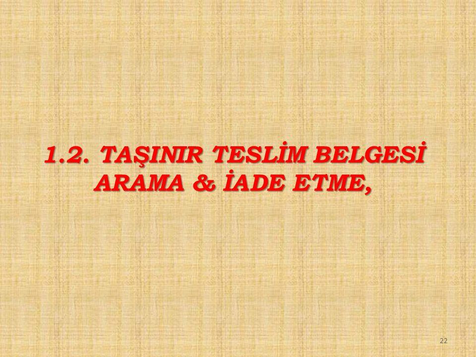 1.2. TAŞINIR TESLİM BELGESİ ARAMA & İADE ETME,