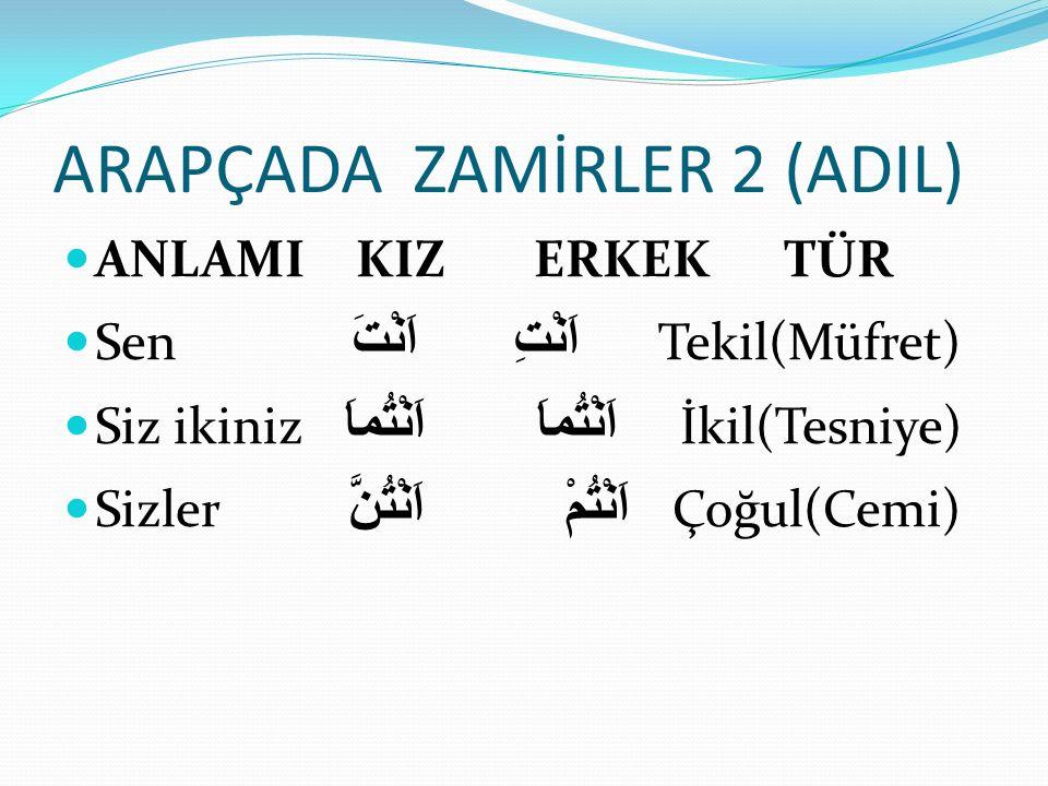 ARAPÇADA ZAMİRLER 2 (ADIL)