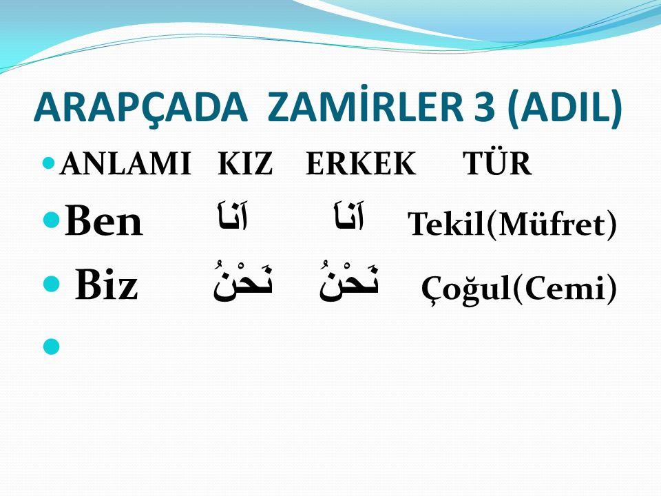 ARAPÇADA ZAMİRLER 3 (ADIL)