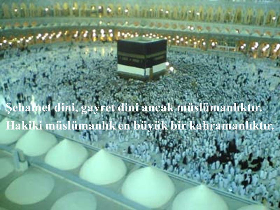 Şehamet dini, gayret dini ancak müslümanlıktır.