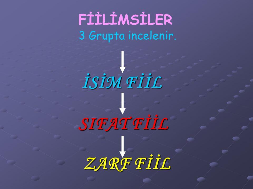 İSİM FİİL SIFAT FİİL ZARF FİİL