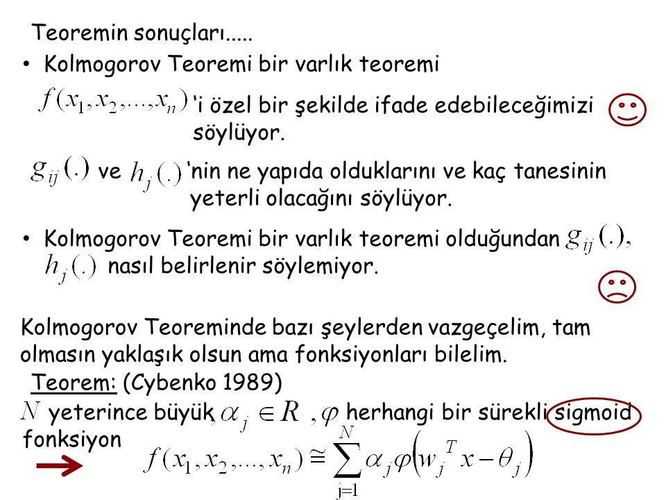 Teoremin sonuçları..... Kolmogorov Teoremi bir varlık teoremi. 'i özel bir şekilde ifade edebileceğimizi.