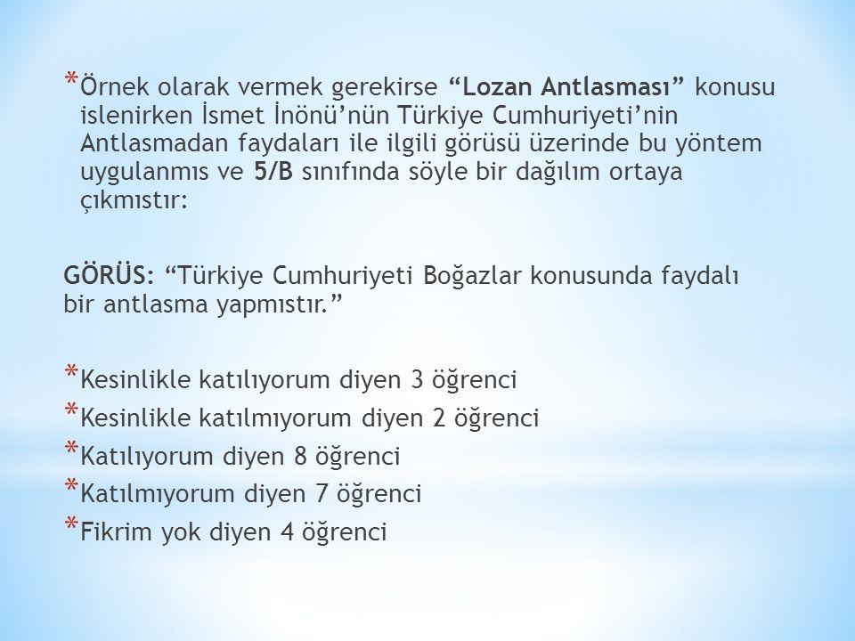 Örnek olarak vermek gerekirse Lozan Antlasması konusu islenirken İsmet İnönü'nün Türkiye Cumhuriyeti'nin Antlasmadan faydaları ile ilgili görüsü üzerinde bu yöntem uygulanmıs ve 5/B sınıfında söyle bir dağılım ortaya çıkmıstır:
