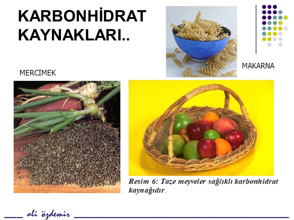 KARBONHİDRAT KAYNAKLARI..