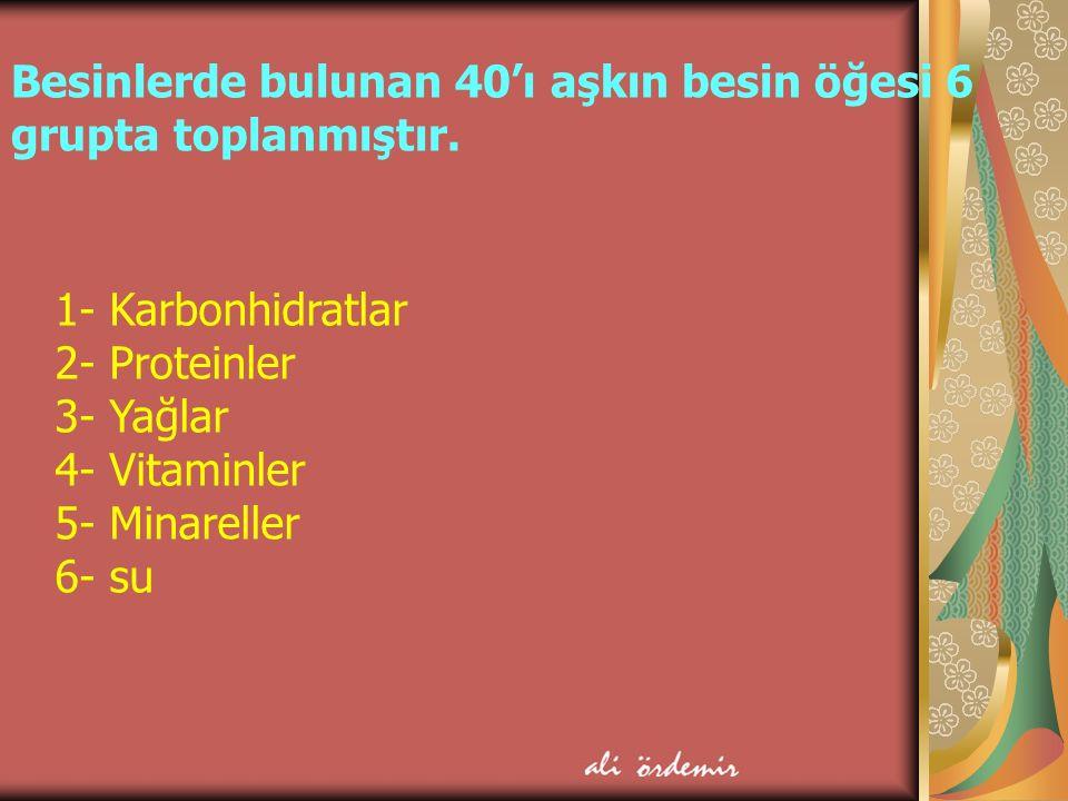 Besinlerde bulunan 40'ı aşkın besin öğesi 6 grupta toplanmıştır.