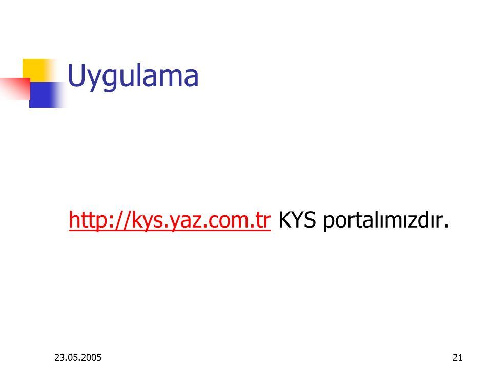 Uygulama http://kys.yaz.com.tr KYS portalımızdır. 23.05.2005