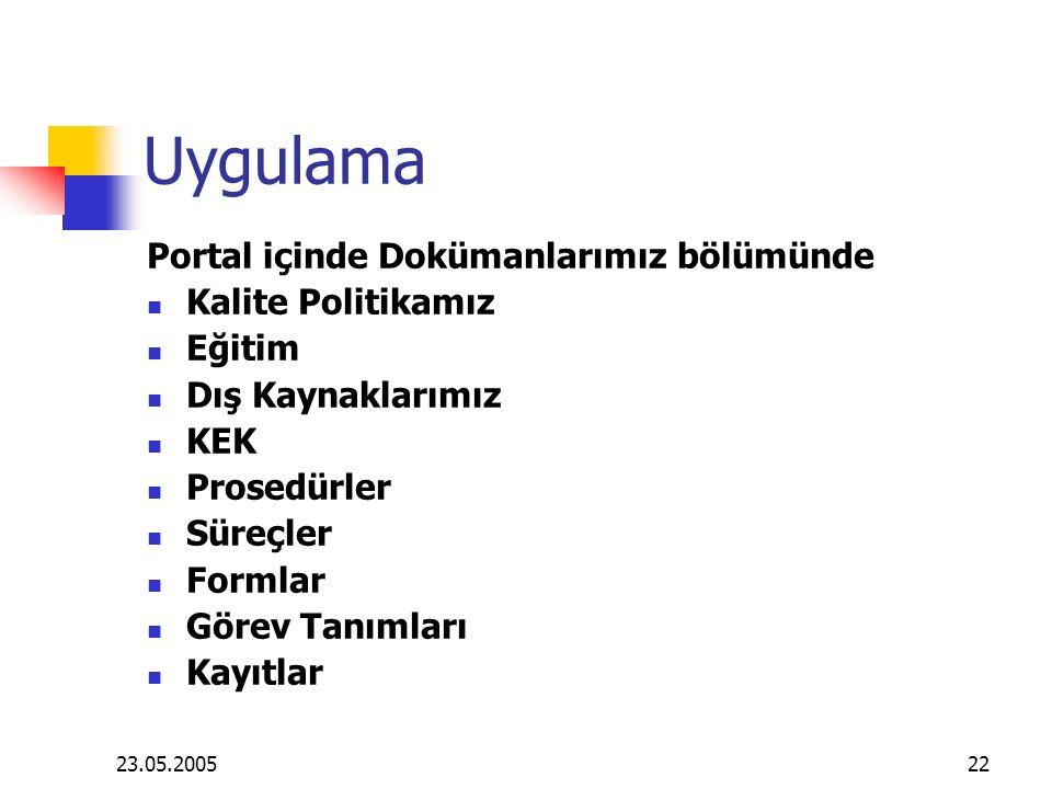 Uygulama Portal içinde Dokümanlarımız bölümünde Kalite Politikamız