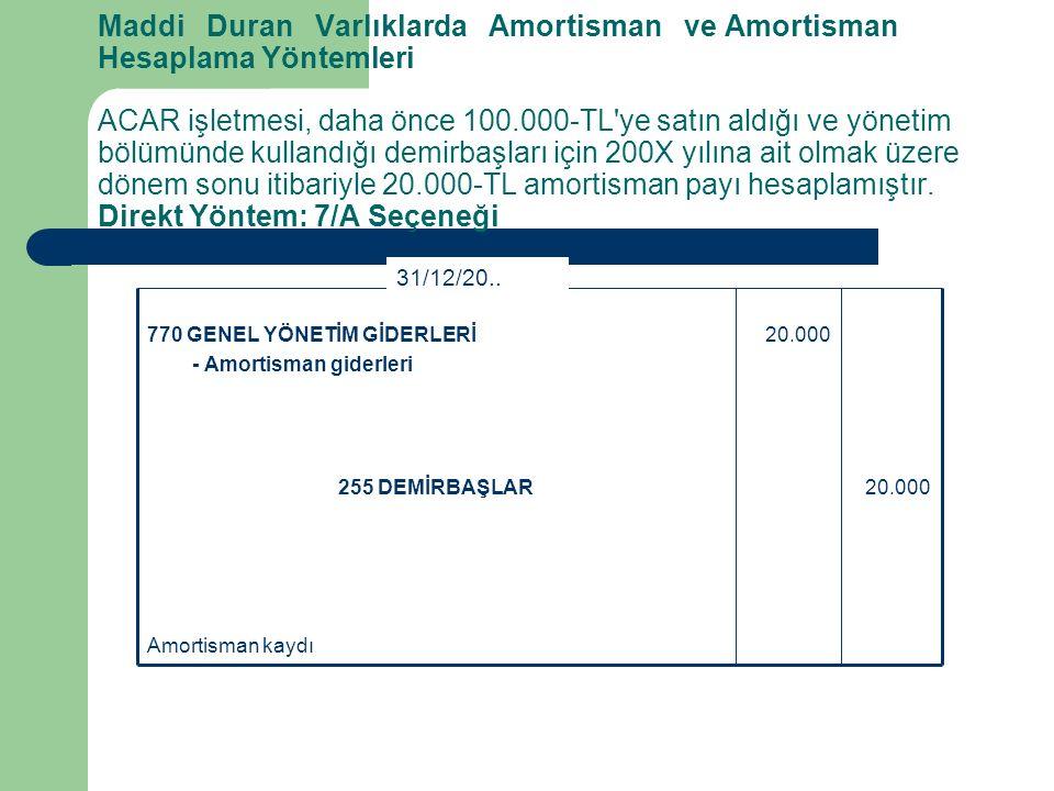 Maddi Duran Varlıklarda Amortisman ve Amortisman Hesaplama Yöntemleri ACAR işletmesi, daha önce 100.000-TL ye satın aldığı ve yönetim bölümünde kullandığı demirbaşları için 200X yılına ait olmak üzere dönem sonu itibariyle 20.000-TL amortisman payı hesaplamıştır. Direkt Yöntem: 7/A Seçeneği