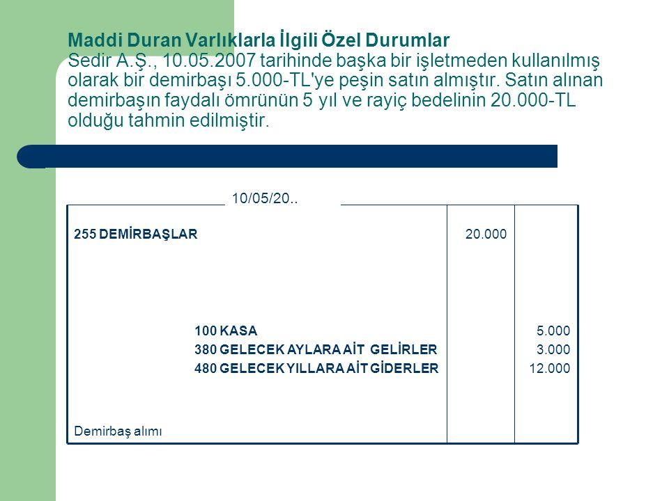 Maddi Duran Varlıklarla İlgili Özel Durumlar Sedir A. Ş. , 10. 05