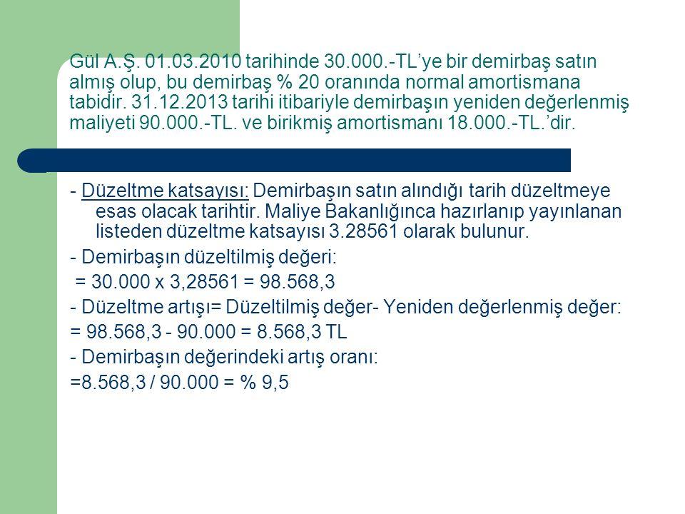 Gül A.Ş. 01.03.2010 tarihinde 30.000.-TL'ye bir demirbaş satın almış olup, bu demirbaş % 20 oranında normal amortismana tabidir. 31.12.2013 tarihi itibariyle demirbaşın yeniden değerlenmiş maliyeti 90.000.-TL. ve birikmiş amortismanı 18.000.-TL.'dir.