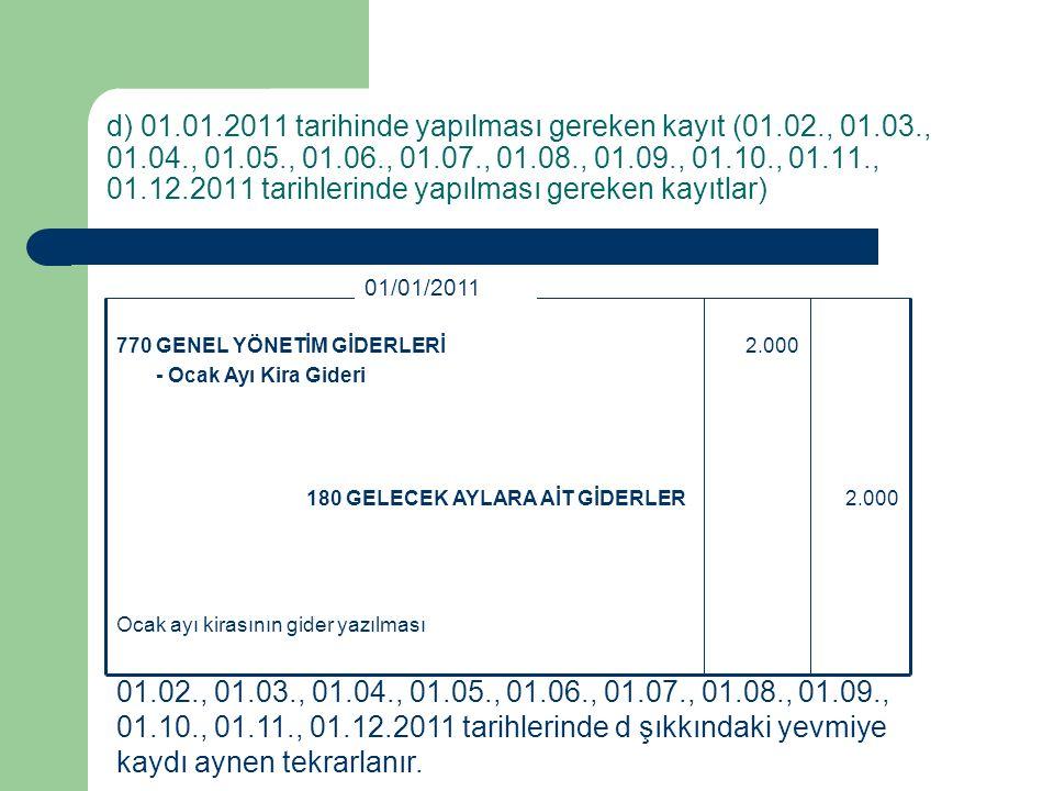 d) 01. 01. 2011 tarihinde yapılması gereken kayıt (01. 02. , 01. 03