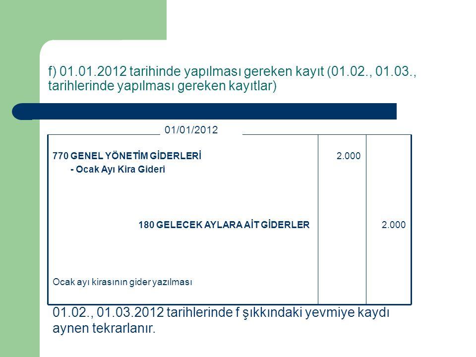 f) 01. 01. 2012 tarihinde yapılması gereken kayıt (01. 02. , 01. 03