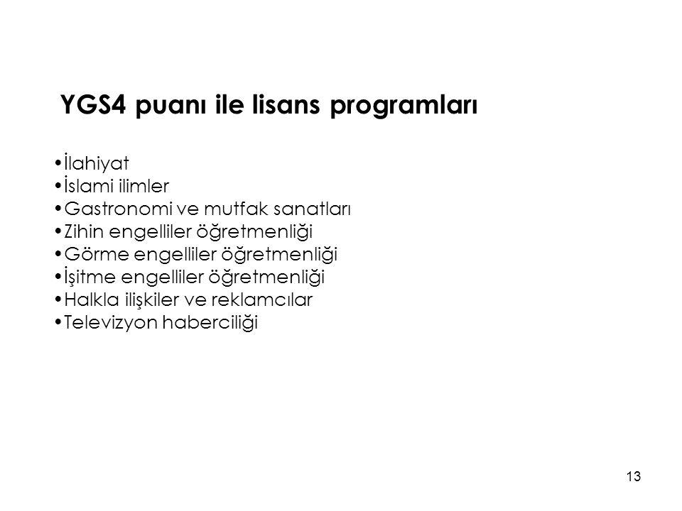 YGS4 puanı ile lisans programları
