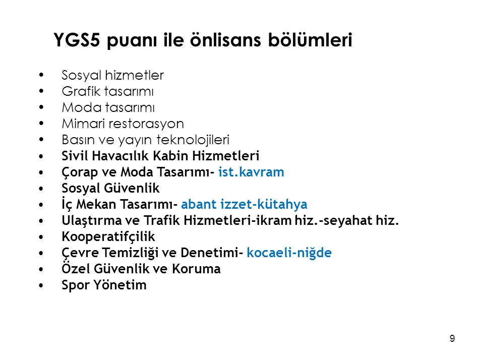 YGS5 puanı ile önlisans bölümleri