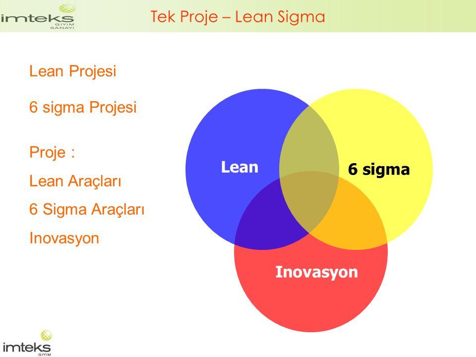 Tek Proje – Lean Sigma Lean Projesi. 6 sigma Projesi. Proje : Lean Araçları. 6 Sigma Araçları. Inovasyon.