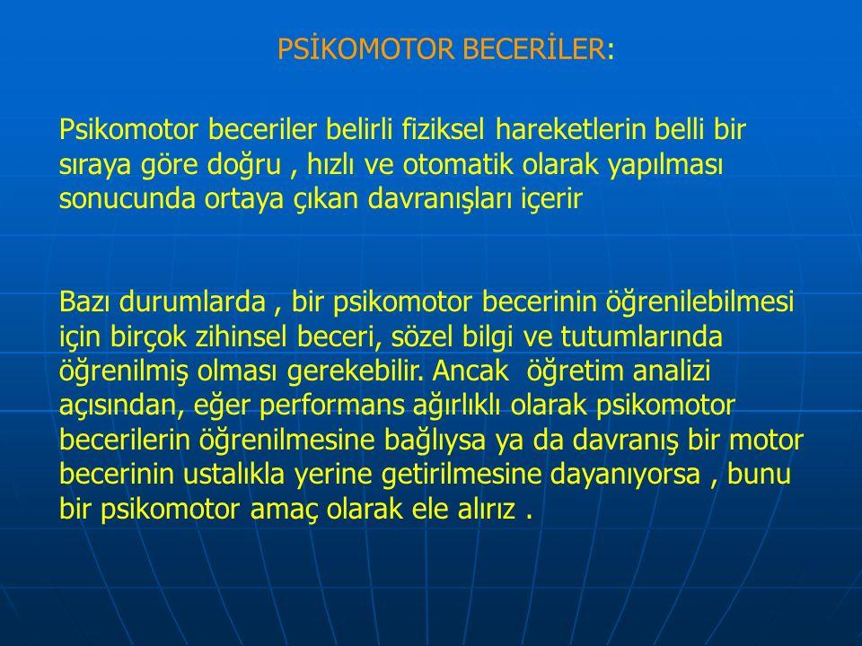 PSİKOMOTOR BECERİLER: