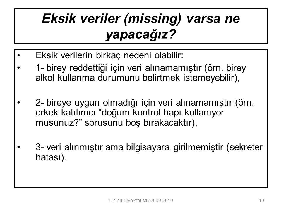 Eksik veriler (missing) varsa ne yapacağız