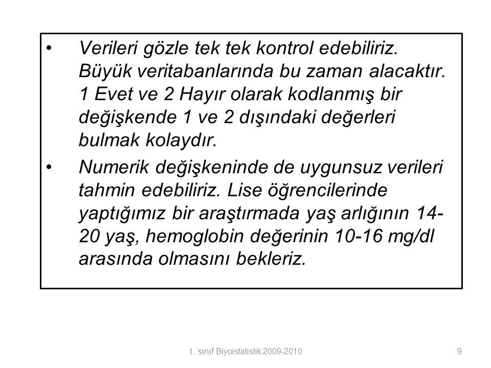 1. sınıf Biyoistatistik 2009-2010