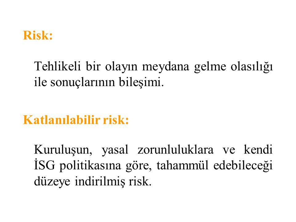 Risk: Tehlikeli bir olayın meydana gelme olasılığı ile sonuçlarının bileşimi. Katlanılabilir risk:
