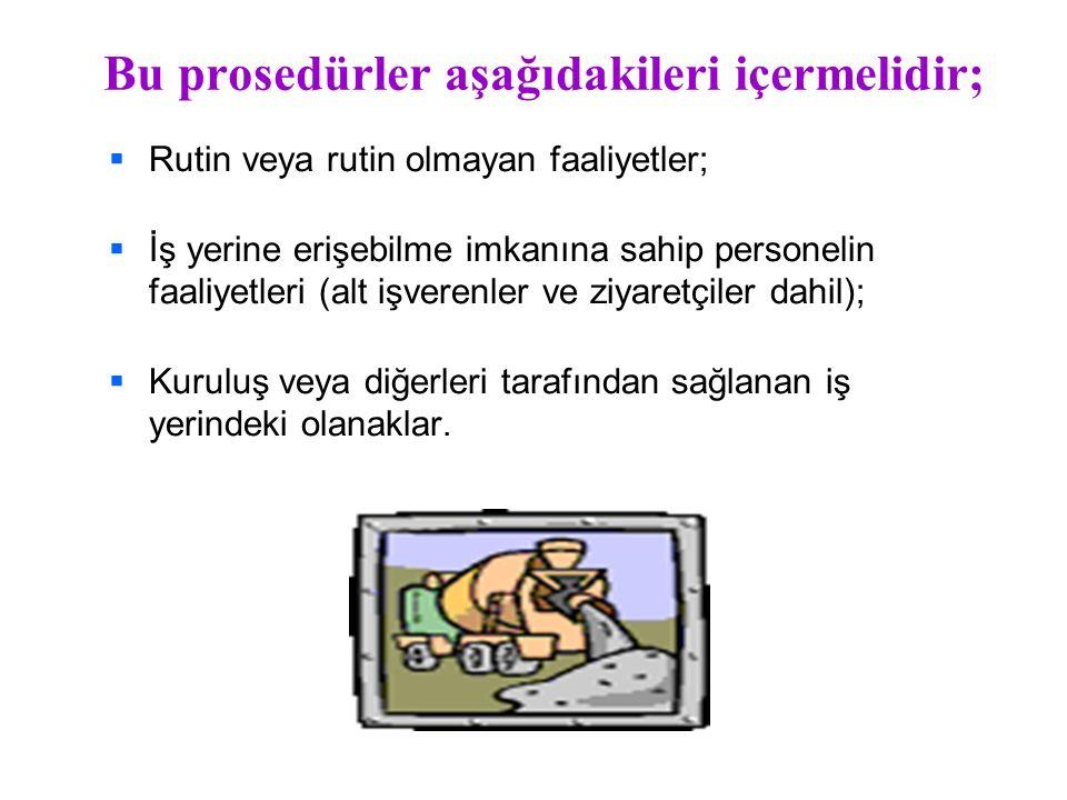 Bu prosedürler aşağıdakileri içermelidir;