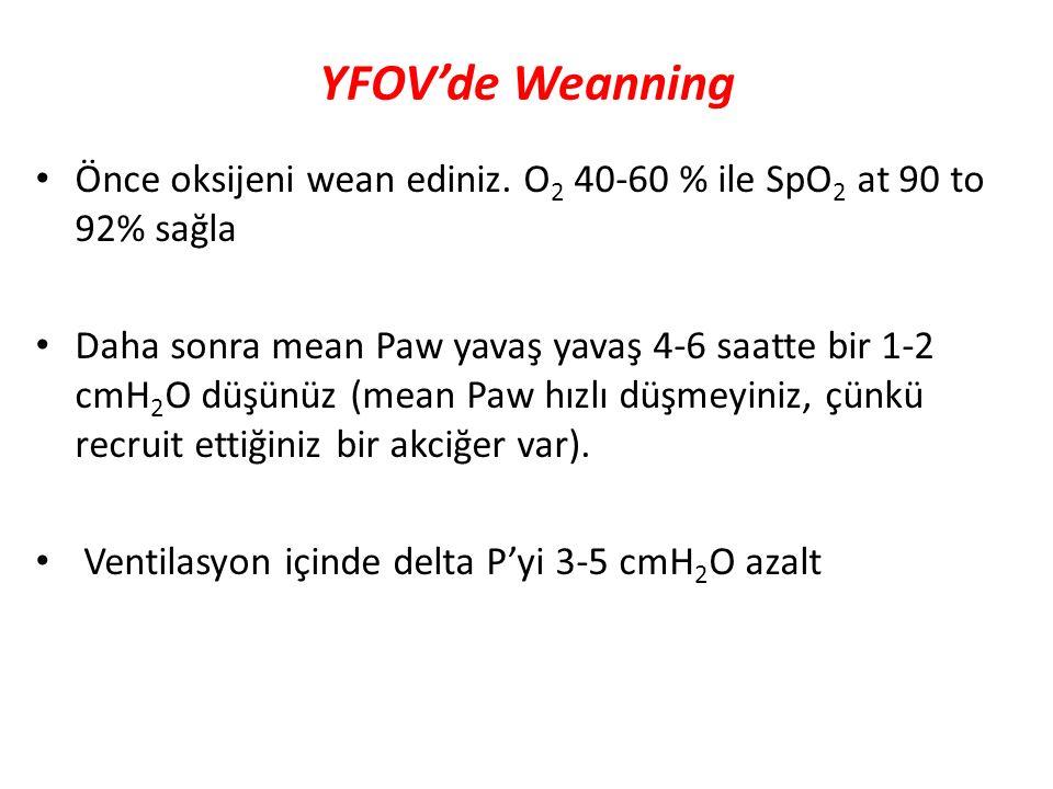 YFOV'de Weanning Önce oksijeni wean ediniz. O2 40-60 % ile SpO2 at 90 to 92% sağla.
