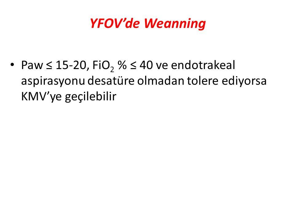 YFOV'de Weanning Paw ≤ 15-20, FiO2 % ≤ 40 ve endotrakeal aspirasyonu desatüre olmadan tolere ediyorsa KMV'ye geçilebilir.