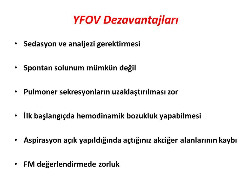 YFOV Dezavantajları Sedasyon ve analjezi gerektirmesi