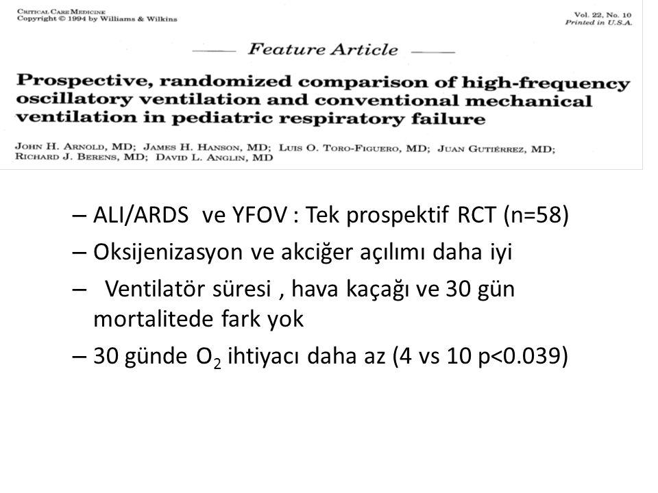 ALI/ARDS ve YFOV : Tek prospektif RCT (n=58)