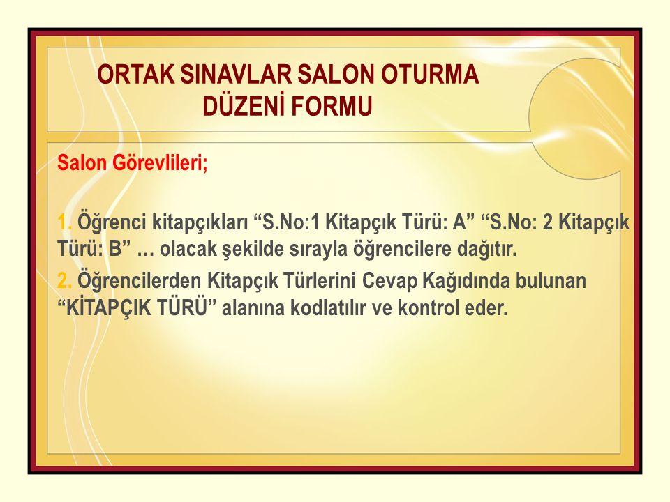 ORTAK SINAVLAR SALON OTURMA DÜZENİ FORMU