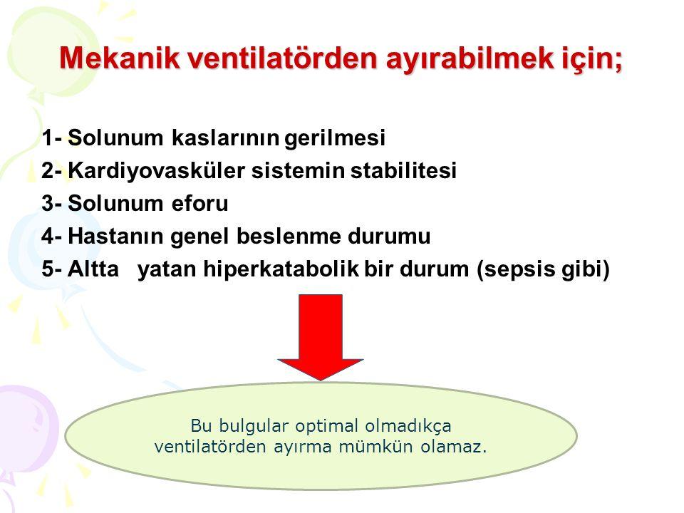 Mekanik ventilatörden ayırabilmek için;