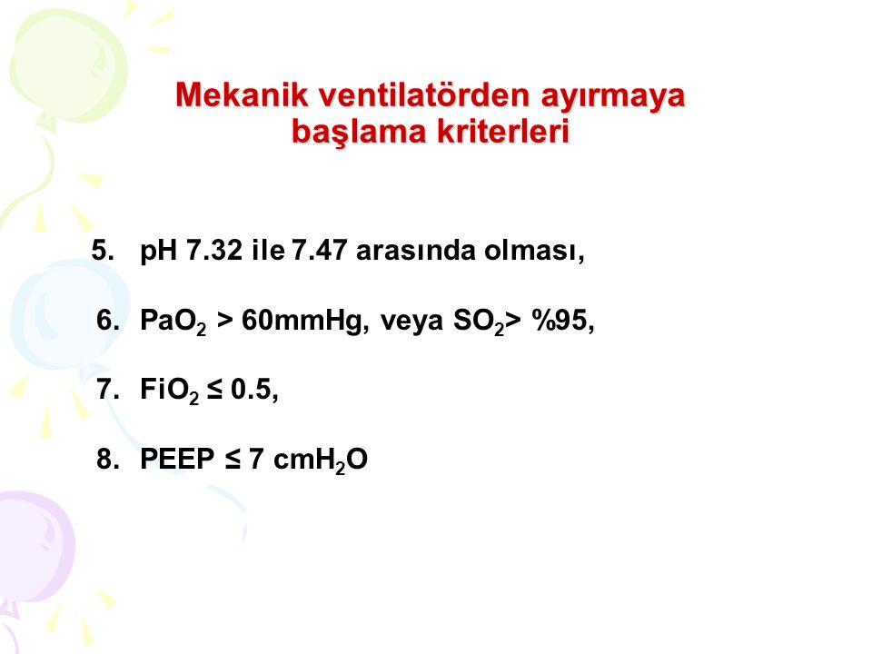Mekanik ventilatörden ayırmaya başlama kriterleri