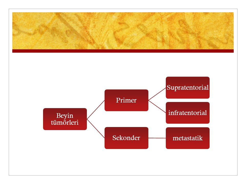 Beyin tümörleri Primer Supratentorial infratentorial Sekonder metastatik