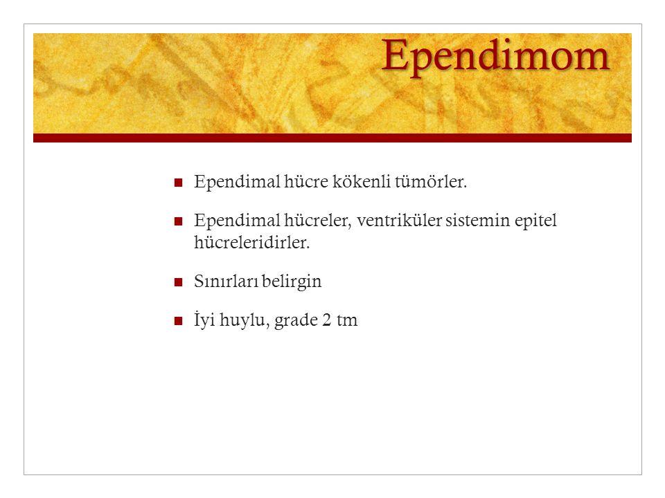 Ependimom Ependimal hücre kökenli tümörler.