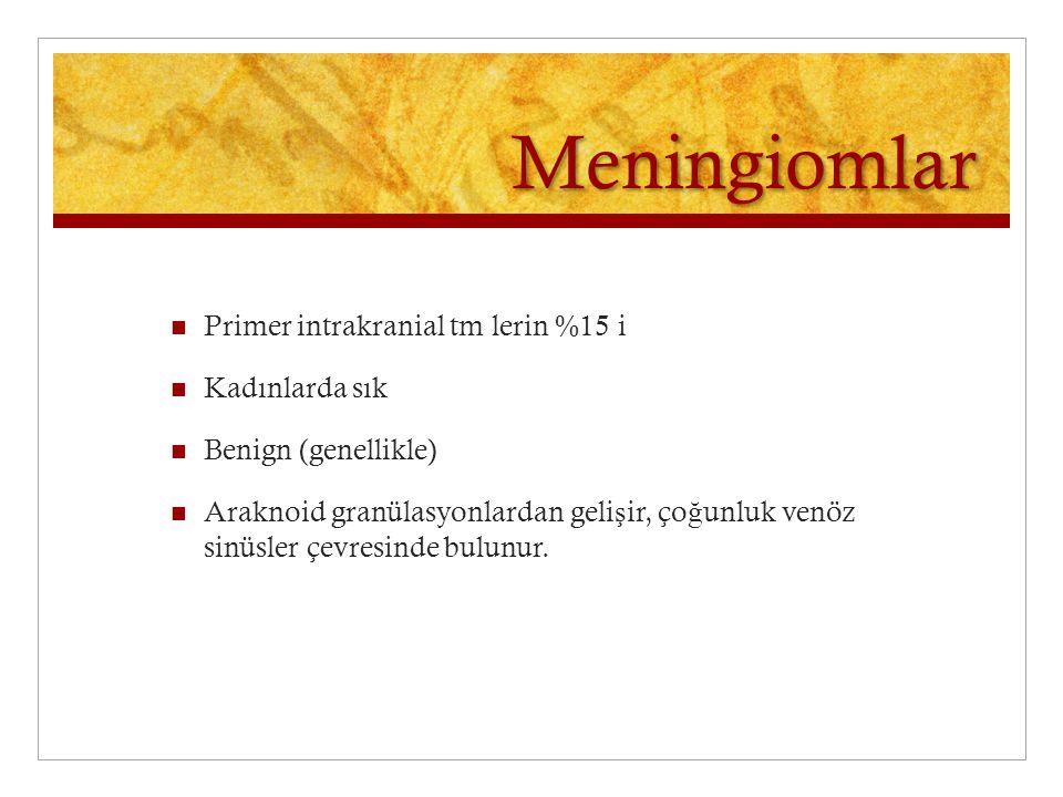 Meningiomlar Primer intrakranial tm lerin %15 i Kadınlarda sık