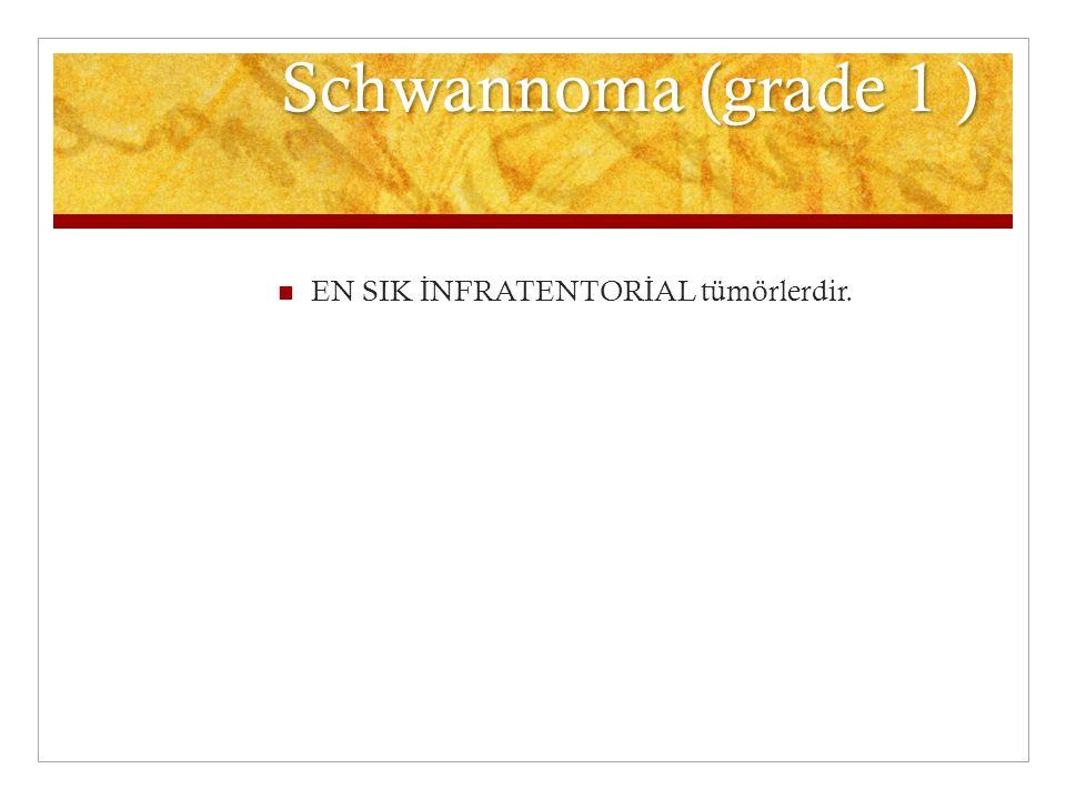 Schwannoma (grade 1 ) EN SIK İNFRATENTORİAL tümörlerdir.