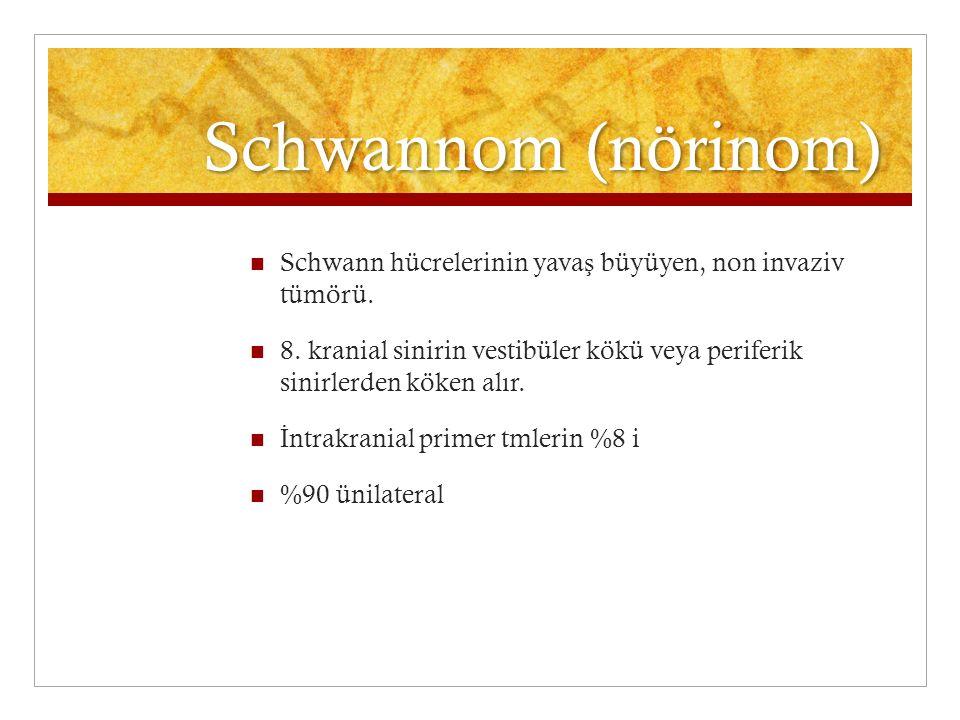Schwannom (nörinom) Schwann hücrelerinin yavaş büyüyen, non invaziv tümörü.