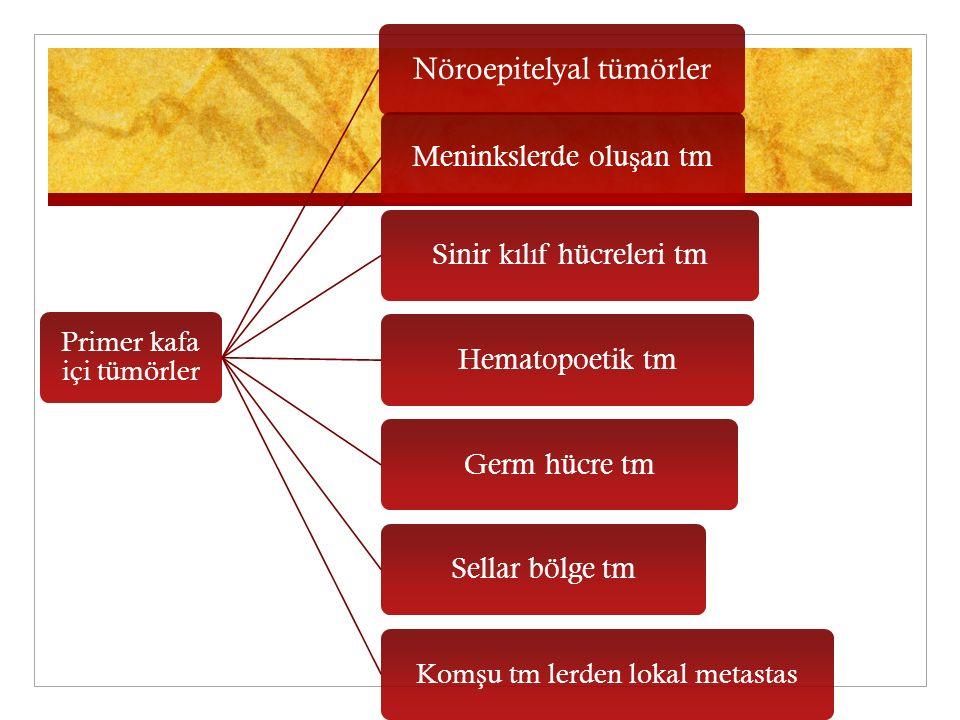 Primer kafa içi tümörler Nöroepitelyal tümörler Meninkslerde oluşan tm