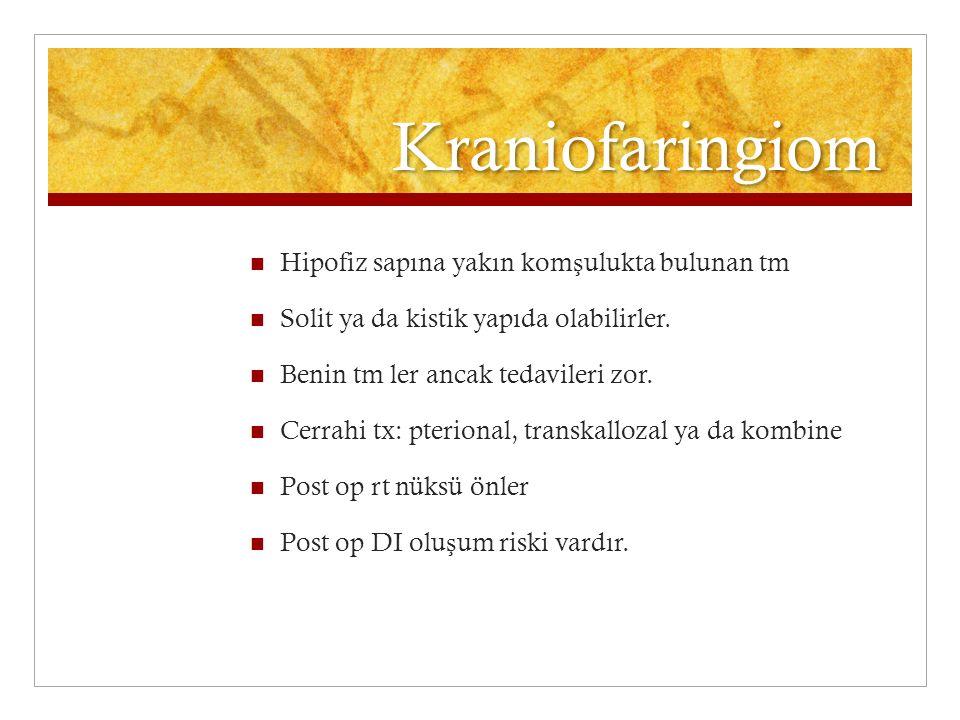 Kraniofaringiom Hipofiz sapına yakın komşulukta bulunan tm
