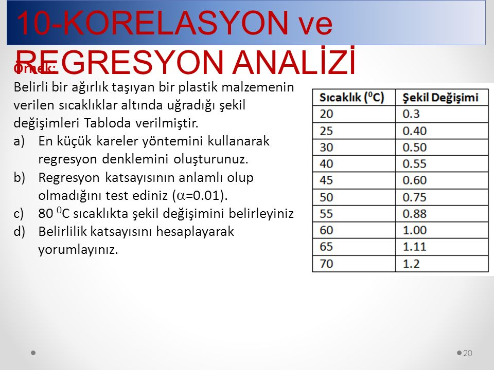 10-KORELASYON ve REGRESYON ANALİZİ
