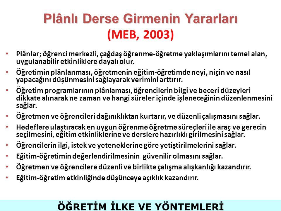 Plânlı Derse Girmenin Yararları (MEB, 2003)