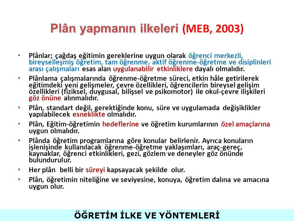 Plân yapmanın ilkeleri (MEB, 2003)