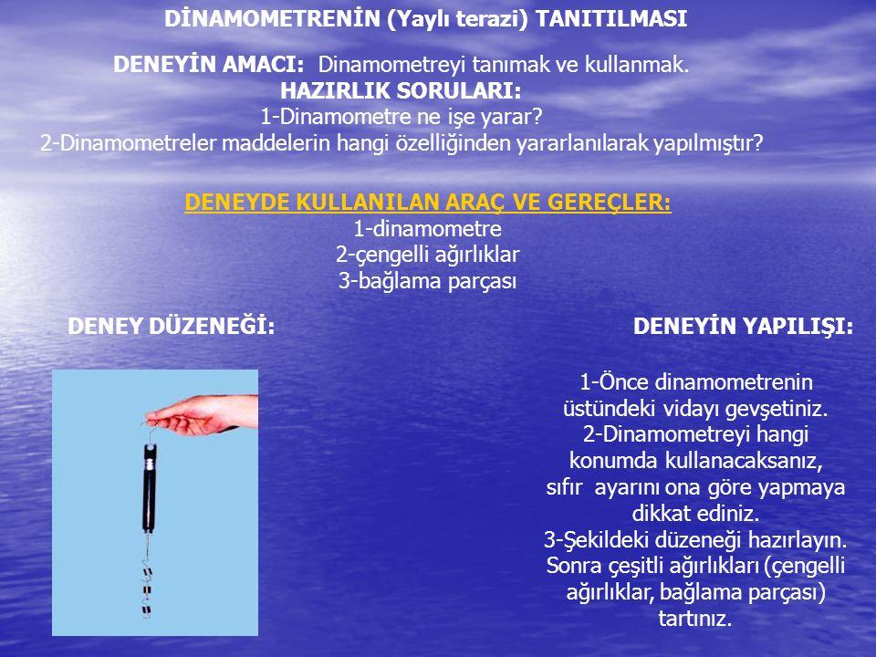 DİNAMOMETRENİN (Yaylı terazi) TANITILMASI