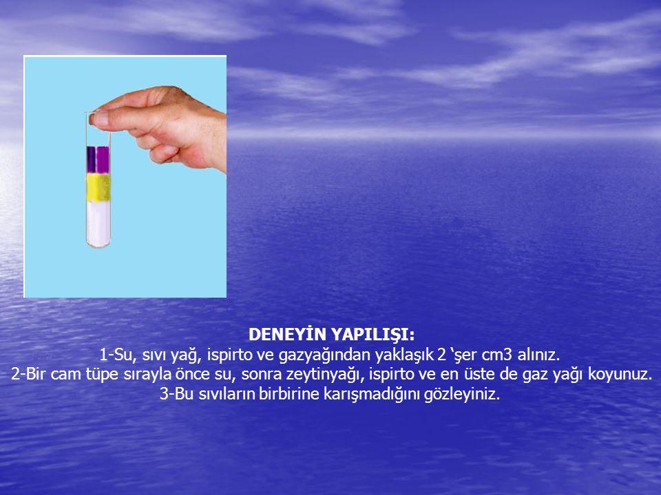 1-Su, sıvı yağ, ispirto ve gazyağından yaklaşık 2 'şer cm3 alınız.
